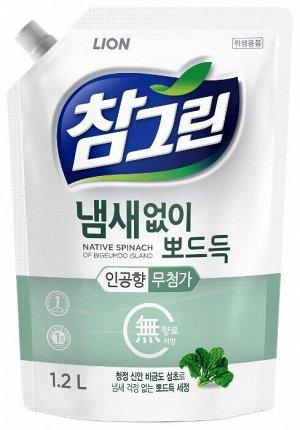 Ср-во д/посуды LION Korea CHAMGREEN 1200мл Свежий шпинат (мягк.уп)