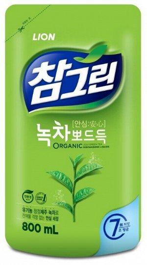 NEW Ср-во д/посуды LION Korea CHAMGREEN 800г Зеленый чай (мяг.уп)