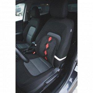 Ортопедическая спинка на сиденье усиленная, ромб, 38x39 см, черный
