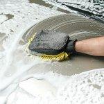 Варежка для мытья авто CARTAGE, 25?19 см, двухсторонняя, желто-серая