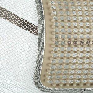 Ортопедическая спинка на сиденье с вертикальным массажером на сиденье 38x39 см, серый