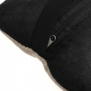 Подушка автомобильная косточка, на подголовник, лен, бежевый, 16х24 см