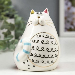 "Сувенир керамика ""Пухлый кот"" цветные пятнышки 10,2х7,3х8,2 см"
