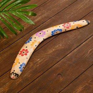 """Сувенир из дерева """"Бумеранг"""" бежевый 40х10х1 см"""