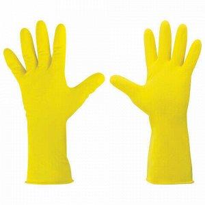 """Перчатки хозяйственные латексные ЛАЙМА """"Стандарт"""", МНОГОРАЗОВЫЕ, хлопчатобумажное напыление, размер М (средний), 600353"""