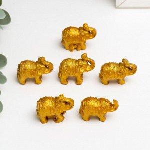 """Нэцке полистоун """"Золотые слоны"""" набор 6 шт 3х3,5х1,7 см"""