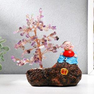 """Сувенир бонсай 147 камней """"Хотей с яблоком у дерева с аметистами"""" 18х13х6 см"""
