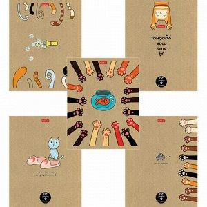 Тетрадь А5 48л. HATBER скоба, клетка, обложка крафт, На мягких лапках (5 видов в спайке), 48Т5В1