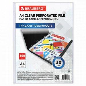 """Папки-файлы перфорированные А4 BRAUBERG """"ECONOMY"""", КОМПЛЕКТ 100 шт., гладкие, 30 мкм, 229659"""