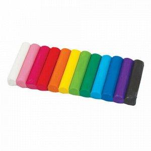 Пластилин классический BRAUBERG 12 цветов, 150 г, стек, 3 штампа, ВЫСШЕЕ КАЧЕСТВО, блистер, 224462