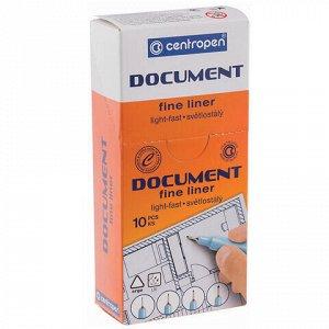 """Ручка капиллярная (линер) ЧЕРНАЯ CENTROPEN """"Document"""", трехгранная, линия 0,1 мм, 2631/0,1, 2 2631 0101"""