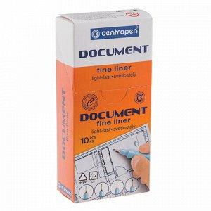 """Ручка капиллярная (линер) ЧЕРНАЯ CENTROPEN """"Document"""", трехгранная, линия письма 0,7 мм, 2631/0,7, 2 2631 0104"""