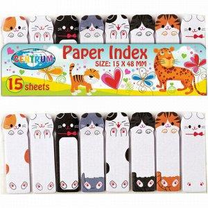 """Закладки клейкие CENTRUM """"Кошки"""" бумажные, 48х15 мм, 8 цветов х 15 листов, 88548"""