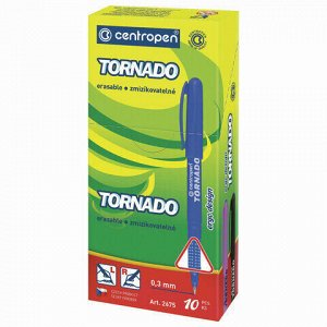 """Ручка-роллер СИНЯЯ CENTROPEN """"Tornado Original"""", корпус ассорти, узел 0,5 мм, линия письма 0,3 мм, 2675, 3 2675 1004"""