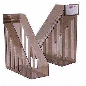 Лоток вертикальный для бумаг, увеличенная ширина (277х100х290 мм), BRAUBERG-MAXI, тонированный, 231055
