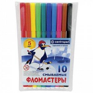 """Фломастеры 10 ЦВЕТОВ CENTROPEN """"Пингвины"""", смываемые, вентилируемый колпачок, 7790/10ET, 7 7790 1086"""