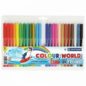"""Фломастеры 24 ЦВЕТА CENTROPEN """"Colour World"""", трехгранные, смываемые, вентилируемый колпачок, 7550/24TP, 7 7550 2484"""
