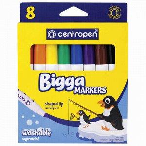"""Фломастеры утолщенные 8 ЦВЕТОВ CENTROPEN """"Bigga Markers"""", смываемые, вентилируемый колпачок, 7650/8KK, 7 7650 0801"""