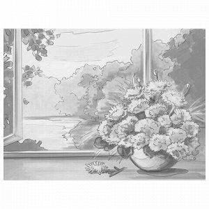 "Холст на картоне с контуром BRAUBERG ART CLASSIC ""БУКЕТ"" 30х40см, грунтованный, хлопок, 191540"