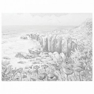 "Холст на картоне с контуром BRAUBERG ART CLASSIC ""ЦВЕТЫ И МОРЕ"", 30х40, грунтованный, хлопок, 191541"