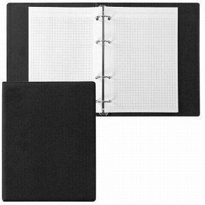 Тетрадь на кольцах А5 (180х220 мм), 80 л., обложка ПВХ, клетка, BRAUBERG, черный, 403909
