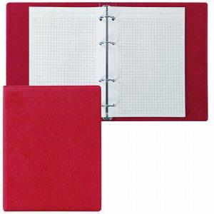 Тетрадь на кольцах А5 (180х220 мм), 80 л., обложка ПВХ, клетка, BRAUBERG, красный, 403911