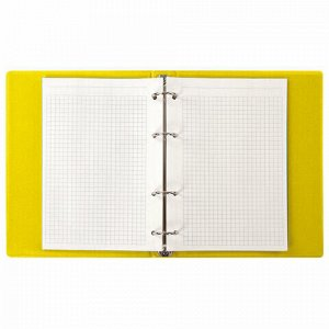 Тетрадь на кольцах А5 (180х220 мм), 80 л., обложка ПВХ, клетка, BRAUBERG, желтый, 403912