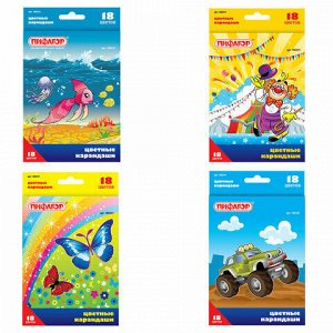 """Карандаши цветные ПИФАГОР """"Сказочный мир"""", 18 цветов, заточенные, картонная упаковка, дизайн ассорти, 180241"""