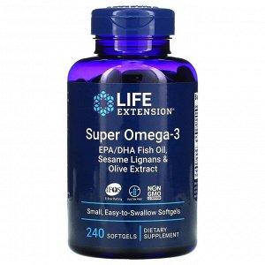 Life Extension, супер омега-3, 240 капсул