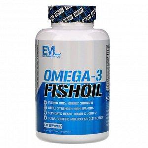 EVLution Nutrition, Рыбий жир с омега-3 кислотами, 120 мягких желатиновых капсул