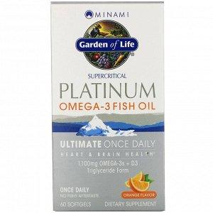 Minami Nutrition, Platinum, рыбий жир Омега-3 со вкусом апельсина, 60 мягких желатиновых капсул