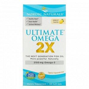 Nordic Naturals, Ultimate Omega 2X, со вкусом лимона, 2150 мг, 120 капсул