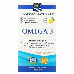 Nordic Naturals, Омега-3, с лимонным вкусом, 690 мг, 60 капсул