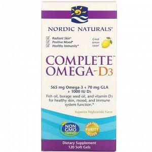 Nordic Naturals, Полный комплекс Омега-D3, лимон, 1000 мг, 120 капсул