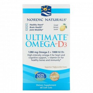 Nordic Naturals, Омега-D3 Ultimate, лимон, 1000 мг, 60 гелевых капсул