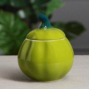 """Горшок для запекания """"Тыква"""", цвет зелёный, 0.8 л"""