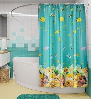 """Штора для ванной """"Полосатые рыбки"""" 180х180см PH77"""