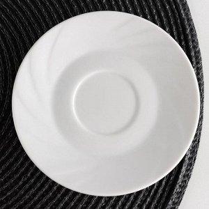 Блюдце Добрушский фарфоровый завод «Бельё. Голубка», d=11,5 см, цвет белый