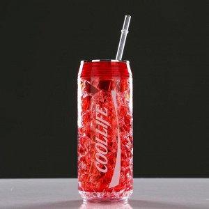 Охлаждающий стакан 300 мл Coollife, сохраняет холод 2 ч, 7х18.5 см, (+ трубочка) красн.
