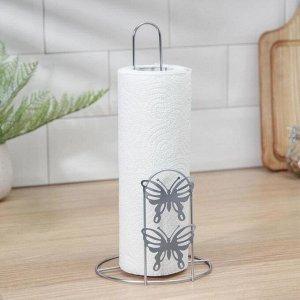 Подставка под бумажные полотенца Доляна «Бабочки», 13?13?27 см, цвет хром