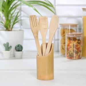 Набор кухонных принадлежностей «Бамбуковый лес», 3 предмета на подставке: 2 лопатки, ложка