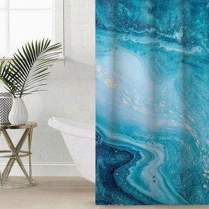 Штора для ванной комнаты «Голубая бездна», 145?180 см, оксфорд