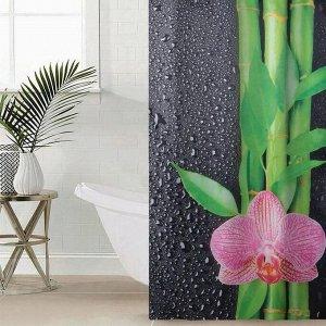 Штора для ванной комнаты «Капельки на чёрном», 145?180 см, оксфорд