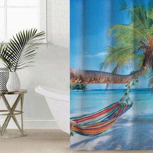 Штора для ванной комнаты Сирень «Незабываемый отдых», 145?180 см, оксфорд