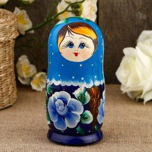 Матрёшка «Рыжая коса», синий платок, 5 кукольная, 15 см