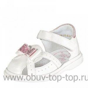 Туфли летние ясельные ИК белый+розовая