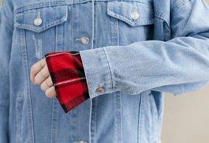 Джинсовая куртка, красный