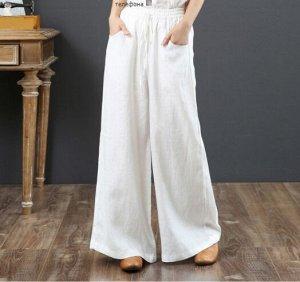 Льняные широкие брюки, белый