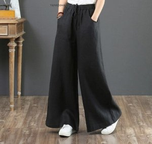 Льняные широкие брюки, черный