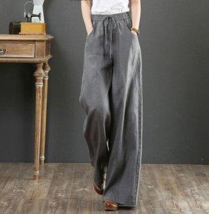 Льняные широкие брюки, серый